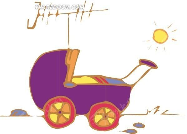 推婴儿车的女人和狗 手绘婴儿推车上的宝宝 推着婴儿车的父母 男人推