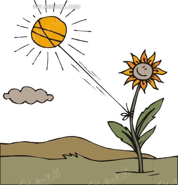 太阳下的向日葵插画eps免费下载_卡通形象素材
