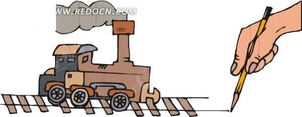 卡通火车插画
