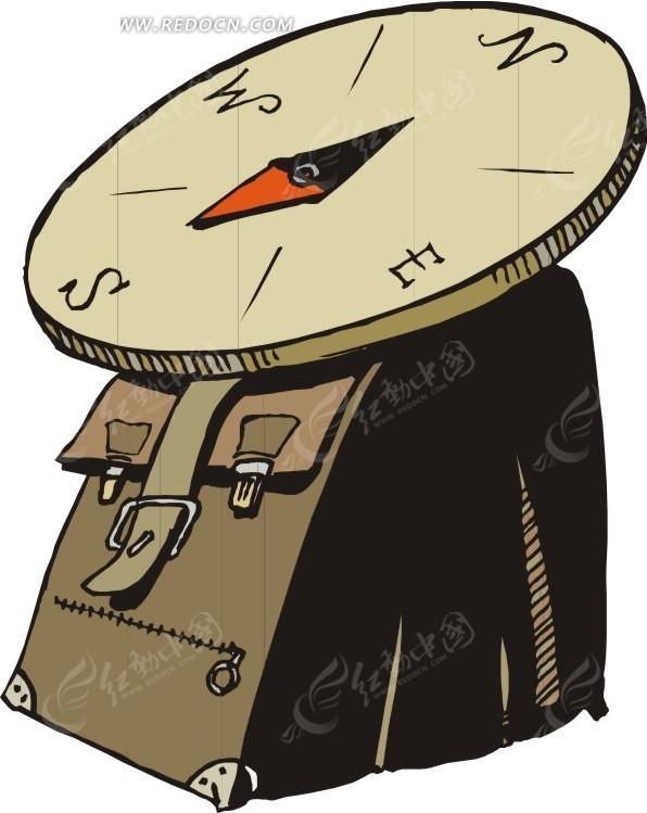 指南针和书包矢量图_卡通形象