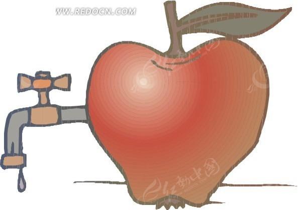 苹果上的水龙头矢量图 卡通形象