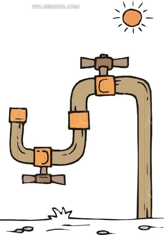 弯曲的水龙头矢量图 卡通形象 -弯曲的水龙头