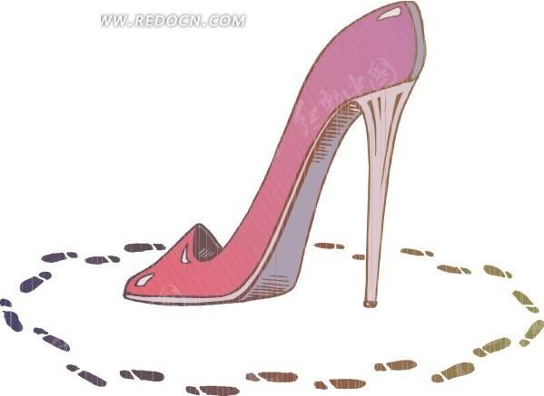 粉色高跟鞋卡通画