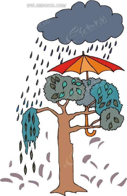 下雨天撑伞的树
