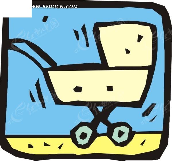 手绘婴儿车