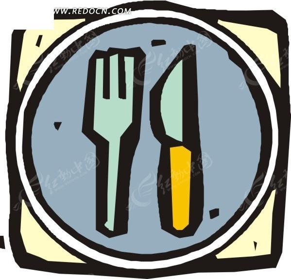 放在盘子里的刀叉卡通画矢量图