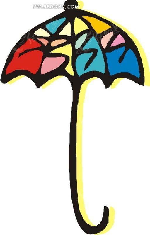 太阳伞卡通插画