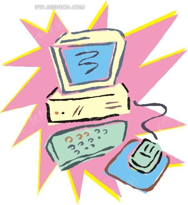 电脑鼠标键盘卡通插画