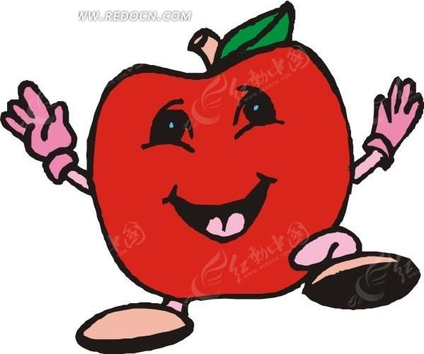 手绘红色苹果