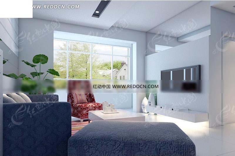 免费素材 3d素材 3d模型 室内设计 现代简约客厅窗户方向效果图  请您