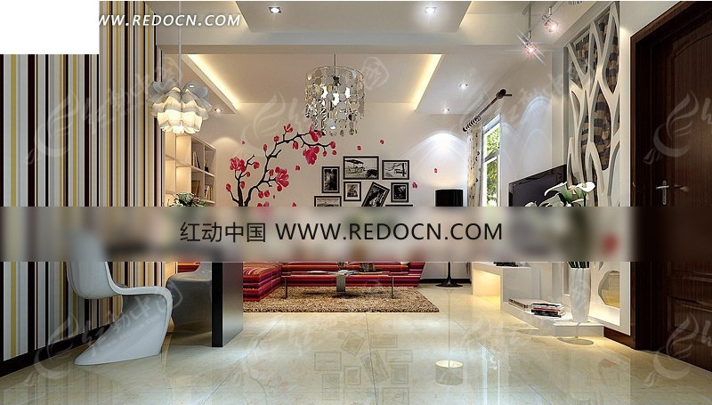 客厅家装设计模型效果图