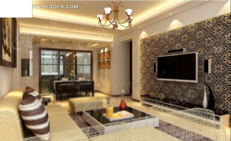 客厅沙发背墙到饭厅角度设计效果图