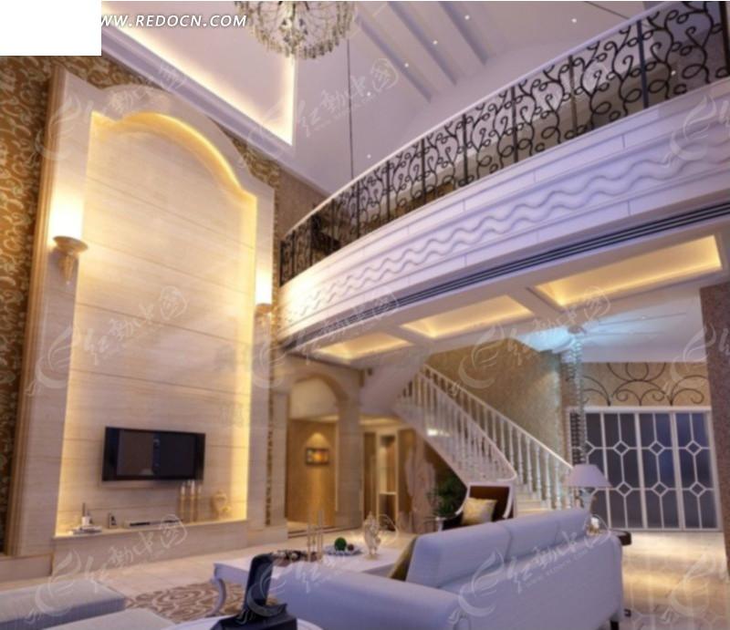 中空客厅楼梯角度装修设计效果图