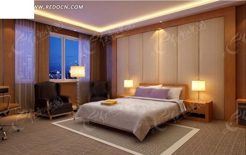 简约温馨宾馆客房内窗户转角方向的效果图