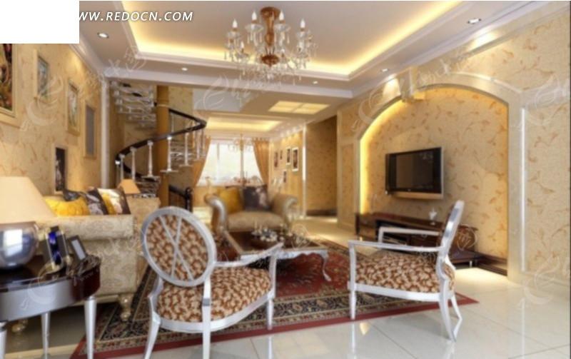 欧式富丽复式客厅餐厅角度效果图