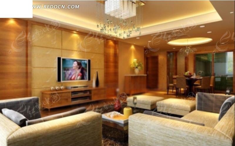客厅内沙发到墙边柜方向的设计效果图图片