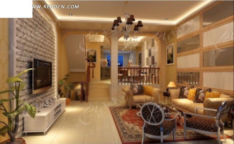 欧式风格客厅效果图3d模型 max图片 高清图片