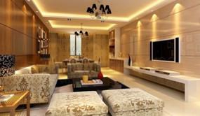 豪华现代的咖啡色客厅效果图3d模型 max