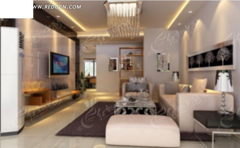 现代风格客厅效果图3d模型 max图片 高清图片