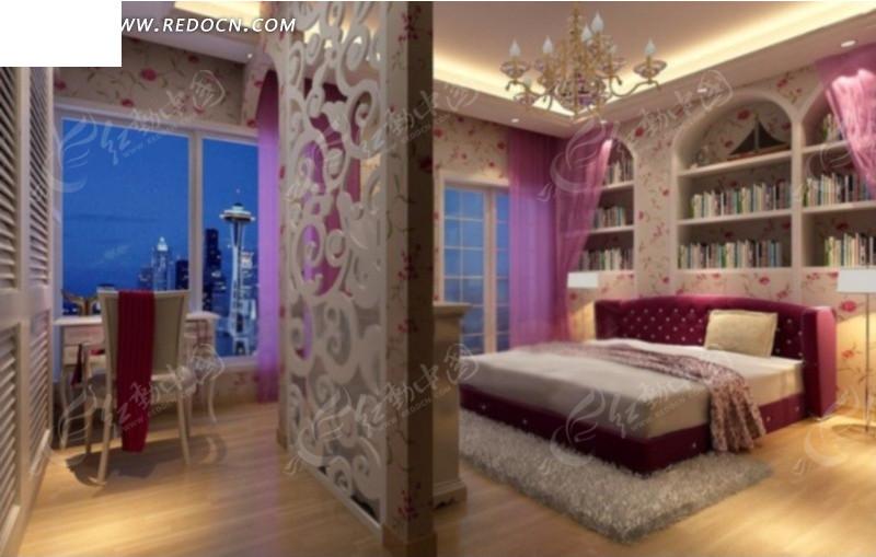 紫色浪漫欧式卧室3d模型
