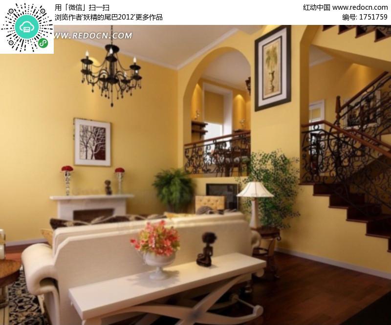 古典欧式别墅客厅效果图3d模型 max图片 高清图片