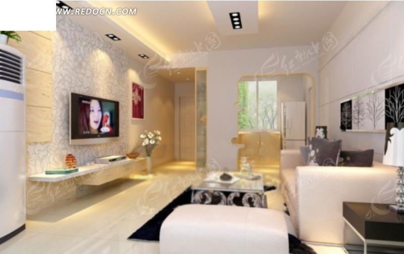 清爽的现代风格客厅效果图3d模型 max图片 高清图片