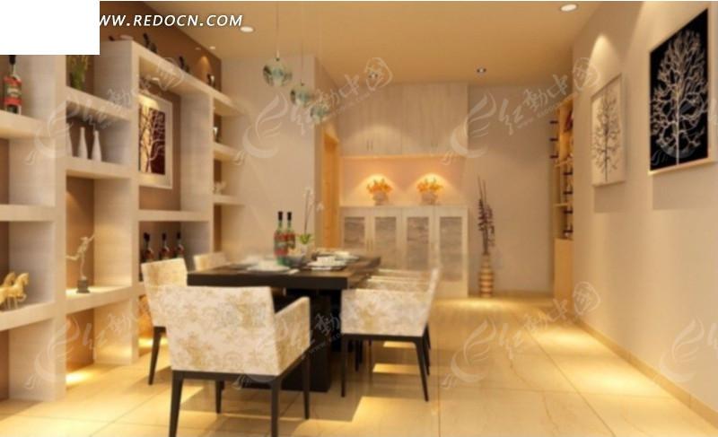 餐厅内餐边柜方向装修设计效果图3dmax免费下载 室内设计素材高清图片
