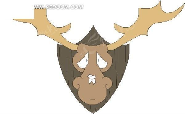 手绘鼻子上受伤的驯鹿