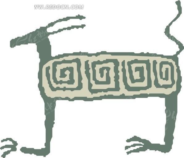 手绘一只羊图案矢量素材eps免费下载_陆地动物
