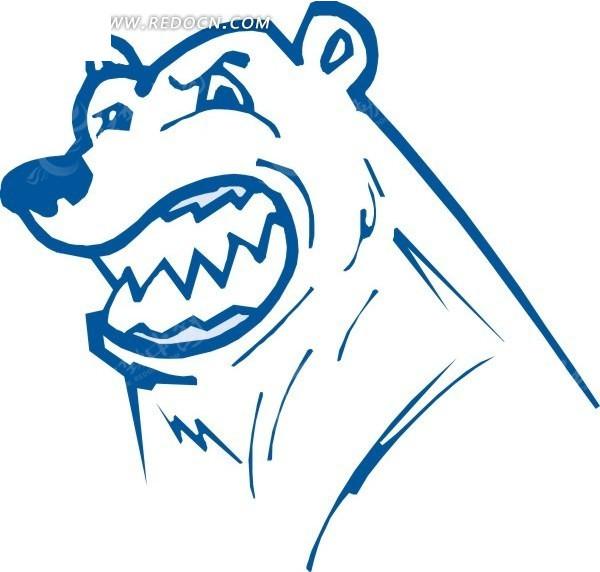 蓝色线描手绘熊