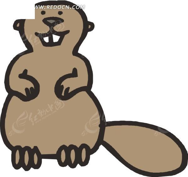 免费素材 矢量素材 生物世界 陆地动物 手绘蹲着的一只河狸  请您分享