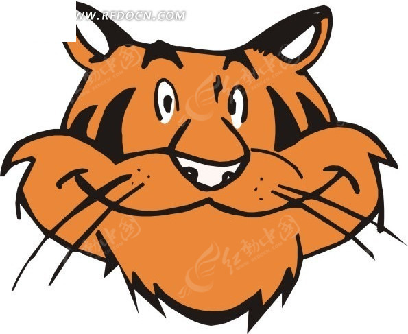 老虎的头部特写矢量图