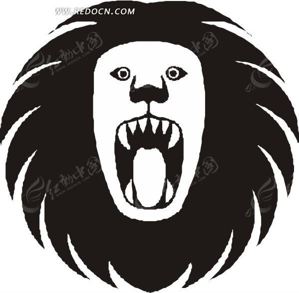 手绘黑色狮子头像图案素材矢量图_陆地动物