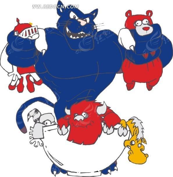 手绘抓着小动物的蓝色狮子