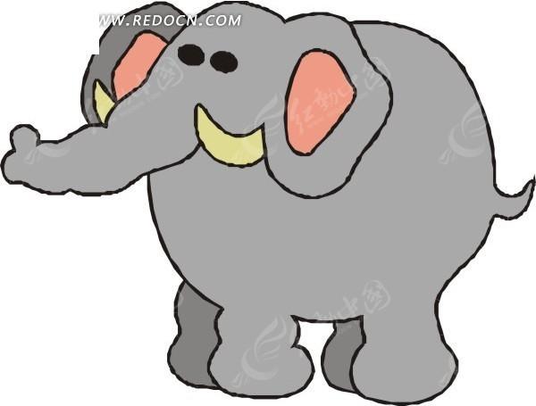 灰色大象卡通画