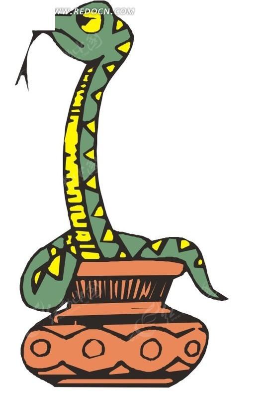 坛子里  蛇  手绘  插画  卡通画  卡通形象 卡通动物 漫画素材 动物