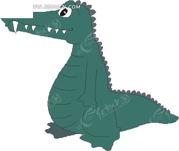 鳄鱼 手绘  插画
