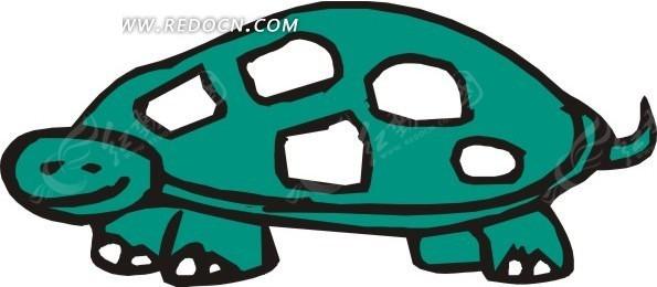 儿童手绘趴着的一只小乌龟