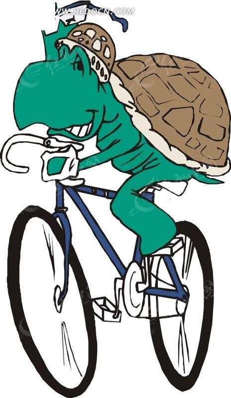 手绘骑自行车的乌龟