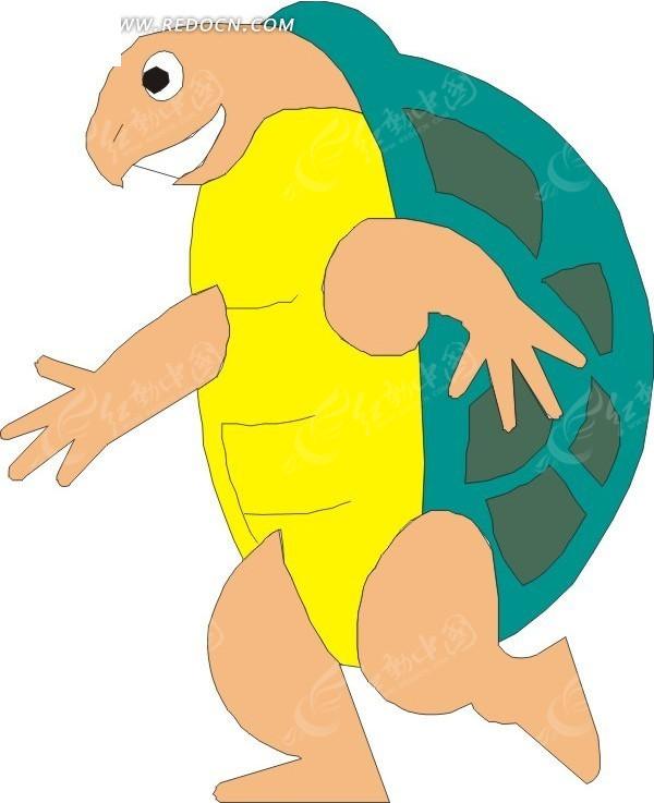 免费素材 矢量素材 生物世界 陆地动物 手绘背着龟壳直立行走的乌龟