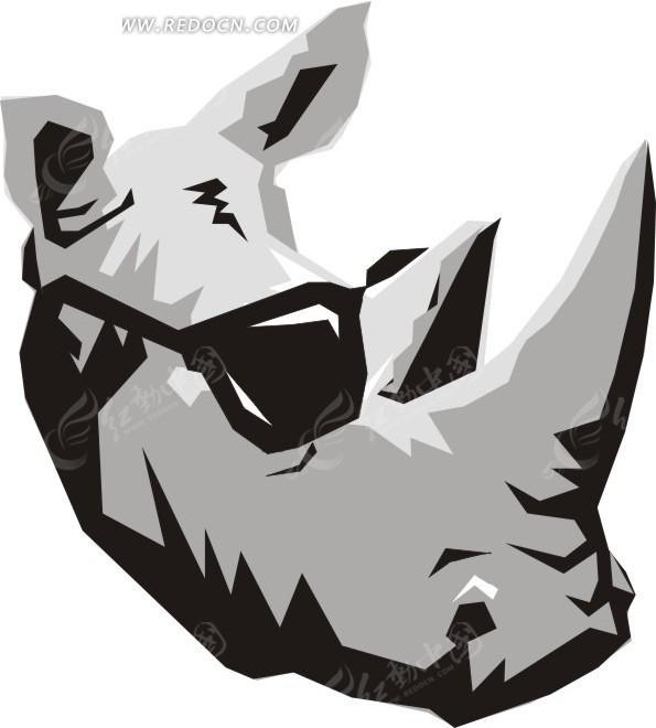 手绘戴着墨镜的犀牛头像