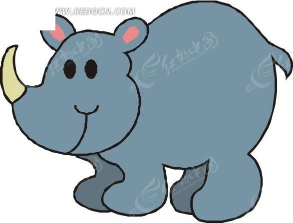 儿童手绘一只可爱的犀牛