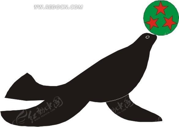 手绘插画一只灰色的海狗 手绘玩球的蓝色海狗 海狗鞭 海边遛狗的人  &