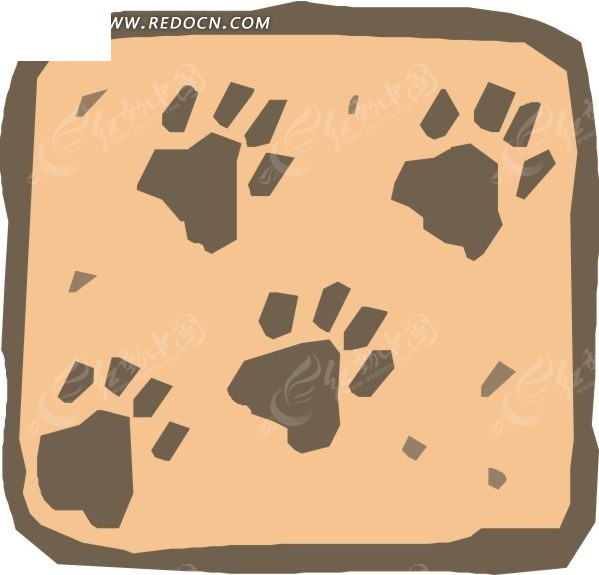 手绘灰色的动物脚印图案素材图片