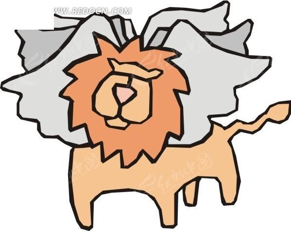 手绘六翼狮子图片
