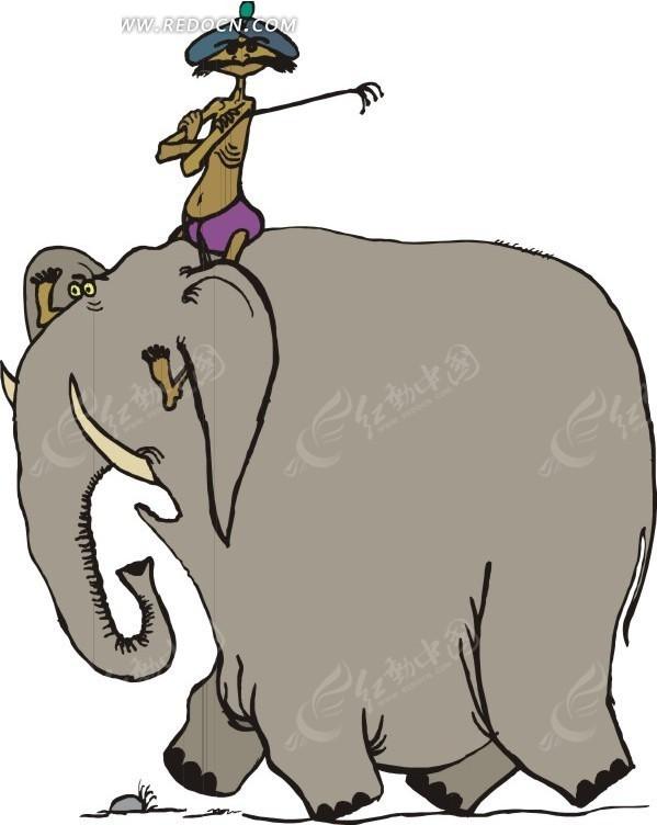 大象 卡通动物 卡通画 插画 手绘 矢量素材 动物图片 卡通形象 动物图片