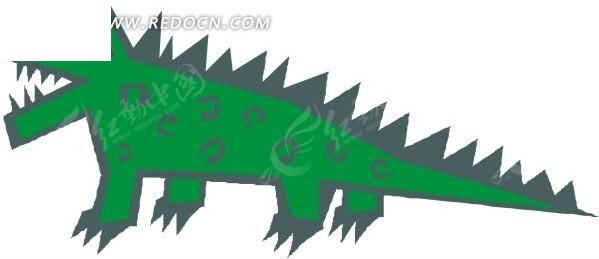 手绘绿色鳄鱼
