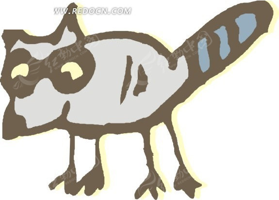 儿童手绘一只小浣熊