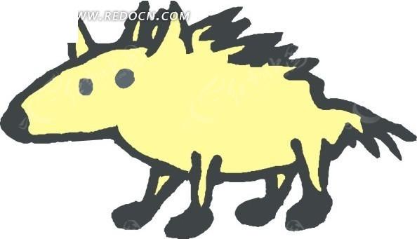 儿童手绘一只卡通的小浣熊