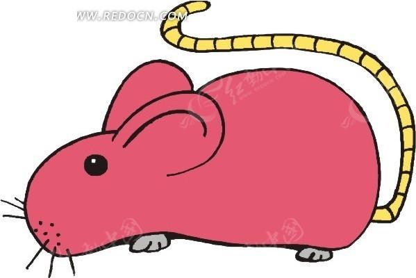 卡通画一只红色的老鼠;